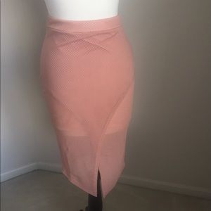 Missguided Pink Middle Split Skirt